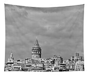 Galata Tower Mono Tapestry