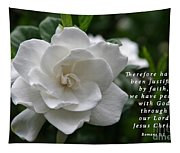 Gardenia Bloom And Scripture Tapestry