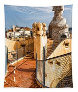 Gaudi Fascinating La Pedrera Rooftop - Impressions Of Barcelona Tapestry