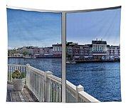 Gazebo 02 Disney World Boardwalk Boat Passing By 2 Panel Tapestry