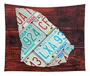Georgia The Peach State License Plate Map On Fruitwood Tapestry
