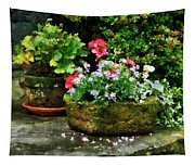 Geraniums And Lavender Flowers On Stone Steps Tapestry