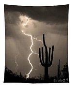 Giant Saguaro Cactus Lightning Strike Sepia  Tapestry