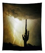 Giant Saguaro Lightning Spiral Fine Art Photography Print Tapestry
