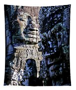 Gigantic Face Statues At Khmer Temple Angkor Wat Ruins Cambodi Tapestry
