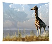 Giraffe And Giant Baobab Tapestry