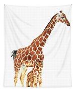 Giraffe Art - A Mother's Love - By Sharon Cummings Tapestry