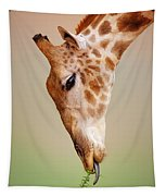 Giraffe Eating Close-up Tapestry