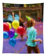 Girl And Her Balloons Tapestry