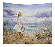 Girl At The Ocean Tapestry
