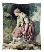 Girl At A Conduit Tapestry