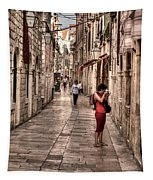 Girl In Red In The White Streets Of Dubrovnik Tapestry