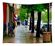 Girl In The Yellow Raincoat Rainy Stroll Through Streets Of The City Montreal Scenes Carole  Tapestry