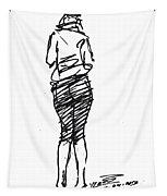 Girl Sketch Tapestry