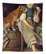 Girl With Dog Tapestry