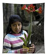 Girl With Flower Tapestry