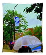Girl With Large Umbrella Its Raining Its Pouring April Showers Montreal Scenes Carole Spandau Art Tapestry
