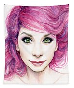 Girl With Magenta Hair Tapestry