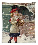 Girl With Umbrella In A Snow Shower Tapestry