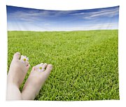 Girls Feet On Grass With Flowers Tapestry