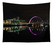 Glasgow Clyde Arc Bridge At Night Tapestry