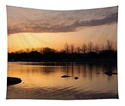 Gloaming - Subtle Pink Lavender And Orange At The Lake Tapestry