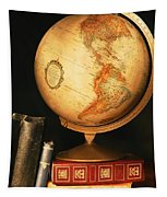 Globe And Books Tapestry
