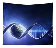 Glowing Earth Dna Strand Tapestry
