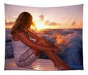 Glowing Sunrise. Greeting New Day  Tapestry