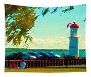 Go Fly A Kite Off A Short Pier Lachine Lighthouse Summer Scene Carole Spandau Montreal Art  Tapestry