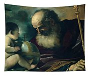 God The Father And Angel Tapestry