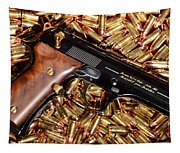 Gold 9mm Beretta With Brass Ammo Tapestry
