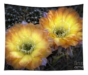 Golden Cactus Flowers  Tapestry
