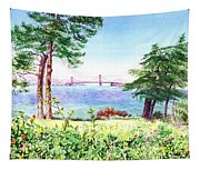 Golden Gate Bridge View From Lincoln Park San Francisco Tapestry