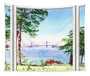 Golden Gate Bridge View Window Tapestry