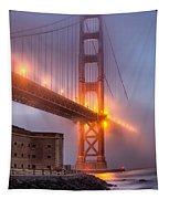 Golden Gate In Fog Tapestry