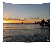 Golden Hour At Naples Pier Tapestry