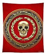 Golden Human Skull On Red   Tapestry