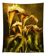 Golden Lilies By Night Tapestry