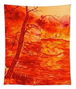 Golden Mountain Lake Morning  Tapestry