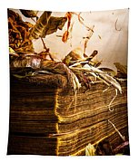 Golden Pages Falling Flowers Tapestry