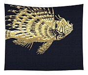 Golden Parrot Fish On Charcoal Black Tapestry