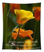 Golden Poppy Floral  Bible Verse Photography Tapestry