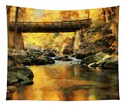 Golden Reflection Autumn Bridge Tapestry