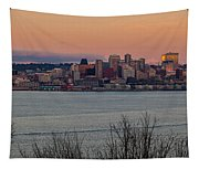 Golden Seattle Skyline Sunset Tapestry