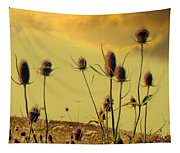 Teasels Reach For The Golden Sky Tapestry