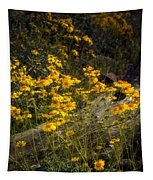 Golden Spring Flowers  Tapestry