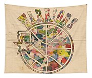 Golden State Warriors Vintage Art Tapestry