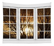 Golden Sun Silhouetted Tree Branches White Window View Tapestry