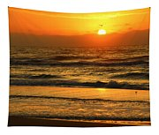Golden Sun Up Reflection Tapestry